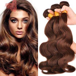 Marrón oscuro # 4 onda del cuerpo del cabello humano 3 paquetes de virgen brasileña trama de cabello humano de color marrón chocolate onda ondulada del cuerpo extensión 10-30 pulgadas