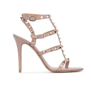 Nude Gold Black Rivets Women Sandals T-Strap Buckles Gliadiator High Heels Women Shoes Party Wedding Ladies Pumps Studded Shoes