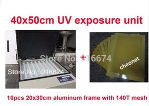 HıZLı Ücretsiz kargo orta Ekran Baskı plakası vakum UV pozlama makinesi + 10 adet 20x30 cm alüminyum çerçeve ile 140 T örgü