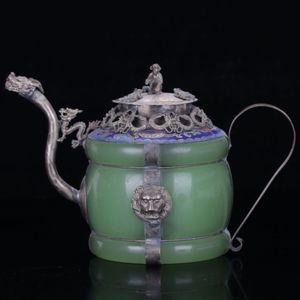 Collezione Natural jade Armor Dragon ion Coperchio di scimmia teiera in argento tibetano lavorato a mano