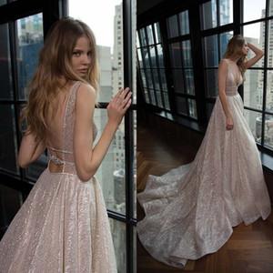 Fabulous 2019 Berta Brautkleider Sexy Tiefer V-Ausschnitt Backless Shiny Glitters Fabric Lange Brautkleider Nach Maß China EN4211