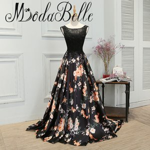 Floral Evening Gown Robe De Soiree 2017 Solde Black Long Prom Dresses 2017 Abiti Da Sera Lunghi