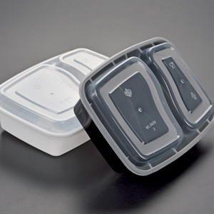 Disposable 900ML Plastic Food Box 2-compartment Food Lunch Storage Holoder 2 colors Take Out Box Tableware