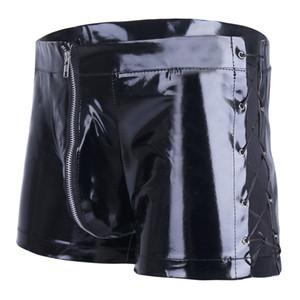 L XXL Plus La Taille En Cuir Verni Latex Wetlook Sexy Gays Boxer Shorts Hommes Culotte Serrée Noir Mâle Bikini Costume Sexy Culotte Sexe Lingerie
