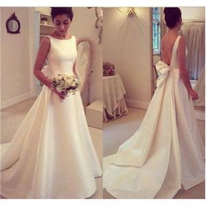 Backless A Line Brautkleid 2019 Satin Einfache Neue Drapierte Brautkleider Nach Maß Scoop Sweep Zug Moderne Elegante Mode Heißer Verkauf