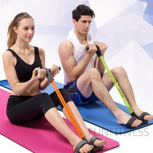 발 페달 잡아당기기 4 밧줄 저항 밴드 관 가정 체육관 적당 운동 운동 몸 건물 장비