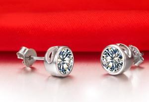 Schnelles freies Verschiffen 18K weißes Gold überzog 1 CT-Sona synthetische Diamantbolzenohrringe für Frauen Qualitäts, die Brautsterlingsilber heiraten