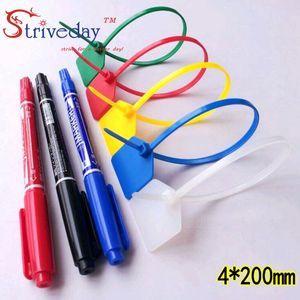 1000pcs lot Disposable plastic Ties Seals label large Signage Ties Seals Tag Logistics Tagout 4*200mm 5colors can choose