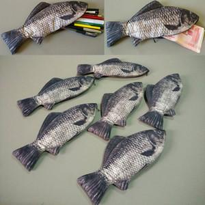 En forma de pluma bolsa monedero de pescado creativa lápiz bolsas de moda de poliéster postal School Student lápiz embroma el regalo de la Niño envío WX-W04