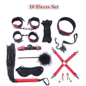 Black Rivets fétiche 10 pièces kit de bondage ensemble BDSM bondage sexe collier pinces à seins pour adultes jeux jouets pour couples produits de sexe