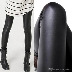 Al por mayor-Mujeres Sexy Sexy Wet negro Faux Leather Leggings Slim Shiny Pants mejor venta #C