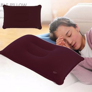 Wholesale- 3 Colors Outdoor Portable Folding Air Inflatable Pillow Double Sided Flocking Cushion for Travel Plane Hotel Sleep Pillow