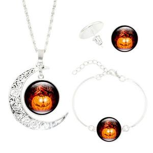 Hot! 5Set Halloween enfants ensemble de bijoux Wicked Witch Glass Cabochon Argent Crescent Moon Pendentif collier boucles d'oreilles bracelet ensembles