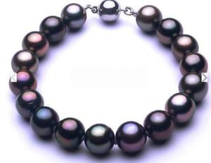 """Belas pérola jóias Encantador 7.5-8 """"9-10mm Tahitian Natural genuína preto redondos pérolas redondas pulseira RA"""