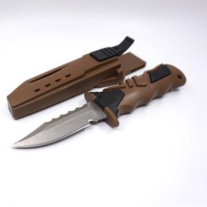 Couteau de survie du plongeur Legging tactique Droite Bowie Couteau de chasse 440C Lame en caoutchouc Poignée Ceinture Couteaux de plongée Camping EDC Outils