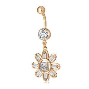 Für Grils Frauen Kristall-Blumen-Bauch-Ring 18K Gelbgold überzogenen freien CZ Blume, Körper Navel Ring p0187