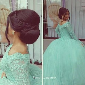 Vintage Mint Green Long Sleeves Quinceanera Dress Cheap Ball Gown Lace Up Back Sweet 16 Special Occasion Dress Party Gown Plus Size