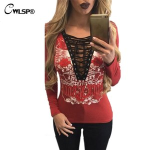 Wholesale- CWLSP T shirt Women V Neck long sleeve tshirt ROCK N ROLL Hollow Out Lace Up T-shirts for women plus size korean fashion QA1506