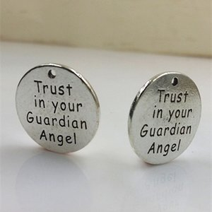 Alloy Message Charms trust in your guardian angel Charms letter engraved pendant jewelry accessory wholesale price