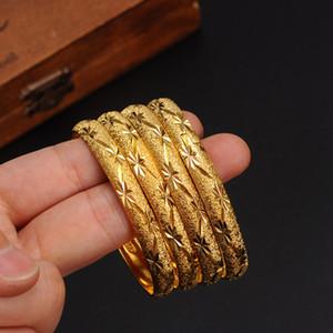 1 adet Yeni Dubai Altın Bilezik Kadınlar Için Men24k Altın Renk Geniş 8 MM Bilezikler Afrika / Avrupa / Etiyopya Takı Bilezik