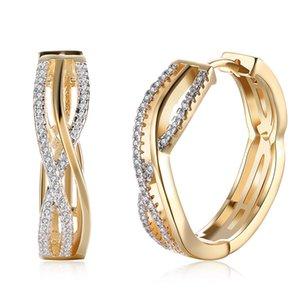 Las mujeres de moda de latón Insertar doble filas brillante CZ Diamond Round Loop Hoop modelos de pendientes de oro envío gratis