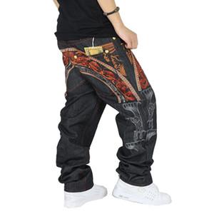 Gros-hommes hiphop jeans cool personnalité broderie lâche pantalons denim pantalons longs hommes mode hip-hop jeans