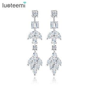 LUOTEEMI Mode Geometrische Ohrringe Elegante Hochzeit Ohrschmuck Klar Multi CZ Kristall Brincos für Frauen Großhandel Bijoux