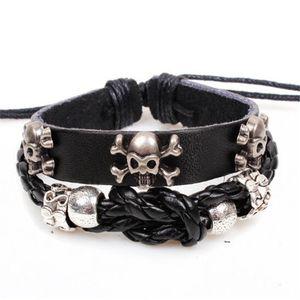 Punk Skull Bracelet Bracciale in pelle intrecciata a mano Cordoncini per uomo Accessori di design Gioielli di personalità Regalo di Natale di Halloween