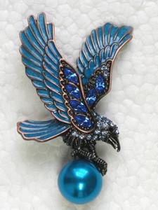 Venta al por mayor de moda de aves broche Rhinestone esmalte Eagle Pin broches regalo de la joyería C101634