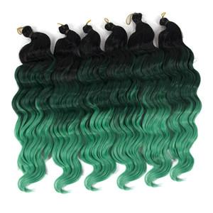 새로운 패션 16 인치 블랙 루트 그린 합성 Ombre Braiding 헤어 익스텐션 Deep Wave Twist Crochet Braids Hair 80g / pack 3PIECES / lot