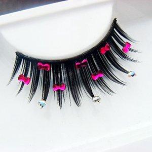 Hot 1 Caja 1 Par Embalaje Exagerado Pestañas Falsas Rhinestone Lindo Bowknot Diamante Pestañas Falsas Maquillaje de Moda Lashe