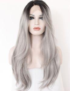 Ombre gris 2 tonos de encaje sintético Roots peluca delantera oscuro largo recto natural de reemplazo de plata gris pelucas de pelo para las mujeres Heat Fibe Resistente