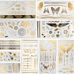 Горячие вспышки Metallic Водонепроницаемый Временные татуировки Золото Серебро Tatoo Женщины Хна цветок Taty дизайн татуировки наклейки