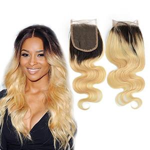 두 가지 색 머리카락 Pre Prelucked 브라질 헤어 클로저 Ombre 1b 613 closure 1b 613 레이스 클로저 Baby Hair