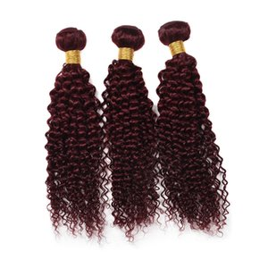 Top Quality Wine Red Weave 99J Bordeaux Kinky Curly Bundles de trame de cheveux humains Kinky Curly Virgin Hair Extensions Tisse 10 '' - 30 ''