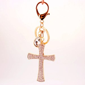 الجدة هدية المسيحية حجر الراين الصليب المفاتيح كريستال كيرينغ سحر حقيبة يد قلادة مفتاح حامل المرأة حقيبة الديكور