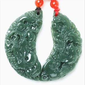 1 Pair Xinjiang hotan jade longfeng Auspicioso amantes Jade Pingente Colares 5.8 * 5.8 * 0.8 Moda Jóias !! Frete grátis!