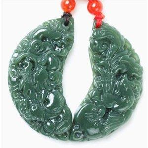 1pair Xinjiang hotan jade longfeng amoureux de bon augure colliers de pendentif jade 5.8 * 5.8 * 0.8 bijoux de mode !! Livraison gratuite!