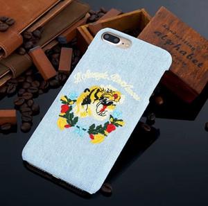 Für iphone x stickerei tier snake bee tiger kopf phone cases für iphone 6 6 s 7 8 plus blume case abdeckung frauen weihnachten