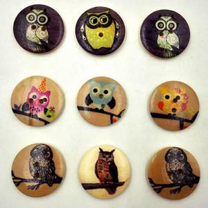 Ahşap Düğmeler için 30mm vintage baykuş 2 delik el yapımı Hediye Kutusu Scrapbooking El Sanatları Parti Dekorasyon DIY Dikiş berabere ...
