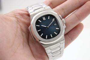 Moda Classic Syle Automático Nautilus Men Watch Blue Dial Inoxidable Banda transparente Volver Sport Watch envío gratis