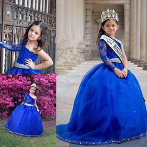 Ball Gown Royal Blue Girls Pageant Dresses One Shoulder Long Sleeve Crystals Lace Tulle Floor Length Girls Party Gowns Custom Size