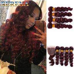 Venta al por mayor peruano Borgoña rojo Ombre cabello humano con cierre Loose Wave 99J vino rojo Ombre 4 paquetes de cabello virgen con cierre de encaje 4x4