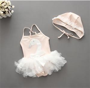Traje de baño para bebé + Sombrero Cisne traje de baño Bebé niña Correa ajustable Ropa de playa Encaje Arco nudo Trajes de baño Ropa de playa de verano para niños