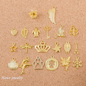 혼합 40pcs 천사 크라운 셸 날개 모양 매력 골드 컬러 팔찌 목걸이 DIY 금속 보석 만들기 Q005