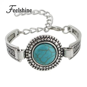 Wholesale-  Jewelry Bohemian Style Antique Silver Color Chain with Round Blue Stone Charm Bracelets Bangles for Women Jewelry Bijoux
