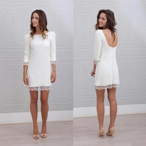 2020 corto blanco mini de la envoltura vestidos de novia Armarios 3/4 mangas Backless atractivo de la playa informal recepción informal vestidos de novia