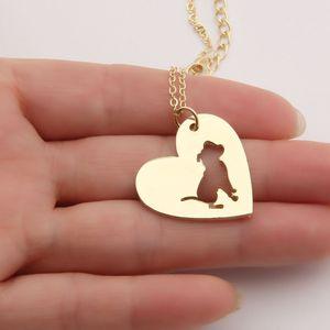 10 unids PitBull Collar Colgante Pit Bull Corazón Colgante Perro Mascota Collares Colgantes Mujeres Encantos Animales Regalo de Navidad Sin Plomo