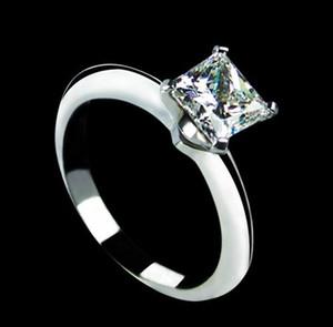 1CT Princess Cut Solitaire 합성 다이아몬드 여성 약혼 반지 단단한 순은 고급 보석