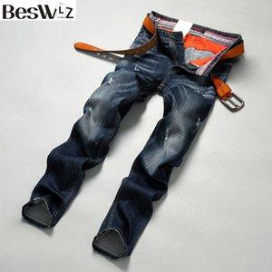 Vente en gros- Beswlz Hommes Denim Jeans Straight Slim Homme Rayé Jeans Pantalon Casual Business Style Hommes Déchiré Bleu Jeans Homme 9506